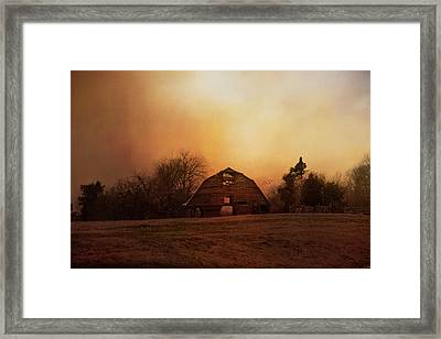 The Old Barn On A Fall Evening Framed Print by Jai Johnson