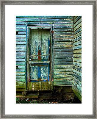 The Old Blue Door Framed Print by Julie Dant