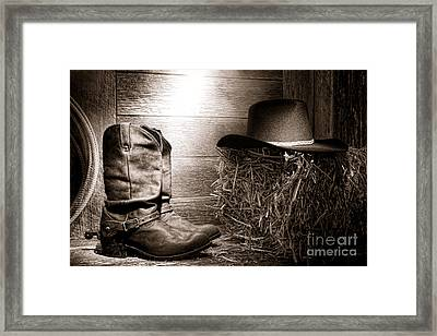 The Old Boots Framed Print by Olivier Le Queinec