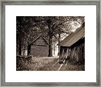 The Old Farm At Sunrise Framed Print by Amber Kresge