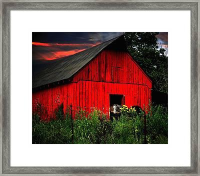 The Old Frederick Barn Framed Print by Julie Dant