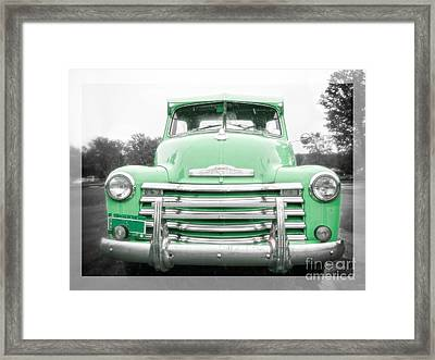 The Old Green Chevy Pickup Truck Framed Print by Edward Fielding