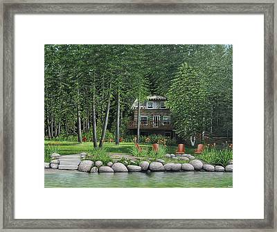The Old Lawg Caybun On Lake Joe Framed Print by Kenneth M  Kirsch