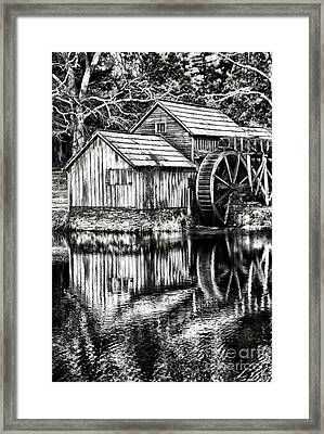 The Old Mill Black And White Framed Print by Darren Fisher