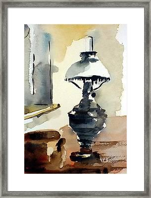The Old Oil Lamp Framed Print by Val Byrne