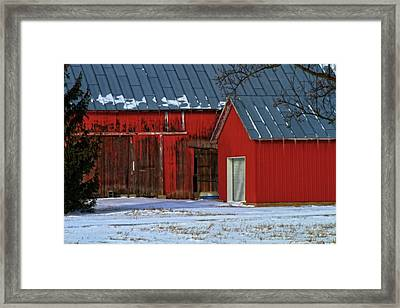 The Old Red Barn In Winter Framed Print by Dan Sproul