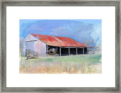 The Old Tin Barn Framed Print by Betty LaRue