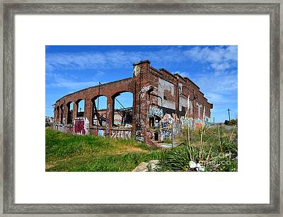 The Old Train Roundhouse At Bayshore Near San Francisco And The Cow Palace Framed Print by Jim Fitzpatrick