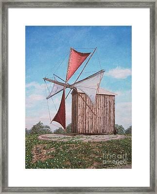 The Old Wood Windmill Framed Print by Carlos De Vasconcelos Tavares