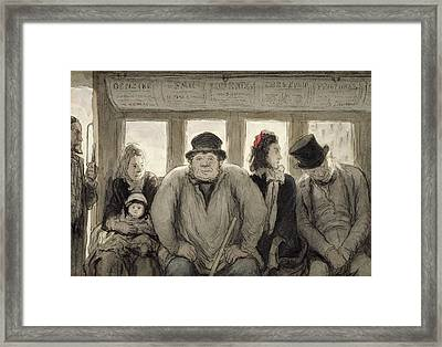 The Omnibus Framed Print by Honore Daumier