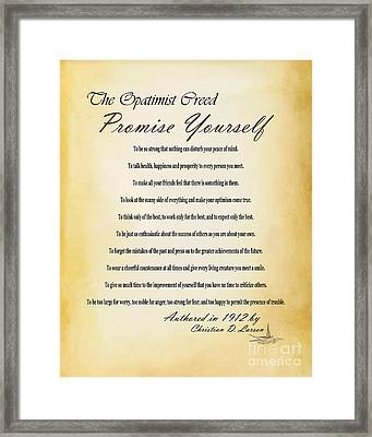 The Opatimist Creed  Framed Print by Kenroy Rhoden
