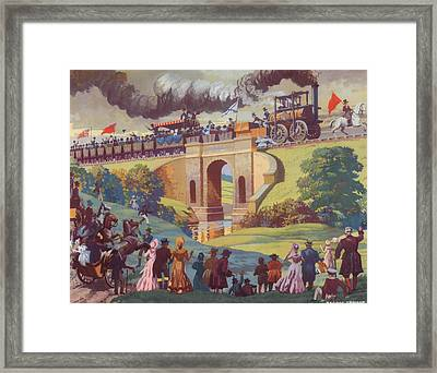 The Opening Of The Stockton And Darlington Railway Macmillan Poster Framed Print by Norman Howard
