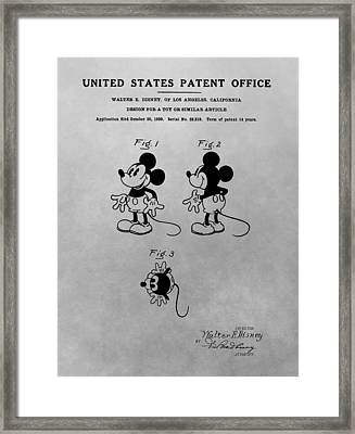 The Original Mickey Mouse Patent Design Framed Print by Dan Sproul