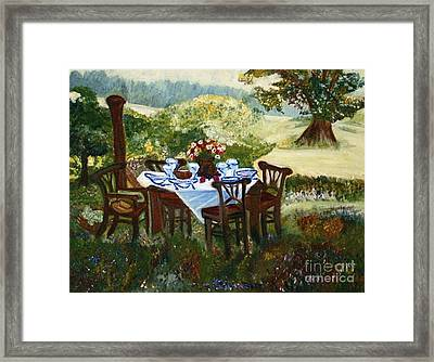 The Outdoor Gathering Framed Print by Helena Bebirian