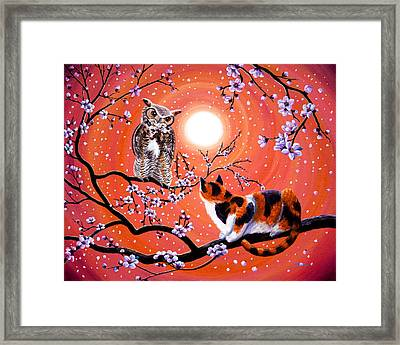 The Owl And The Pussycat In Peach Blossoms Framed Print by Laura Iverson