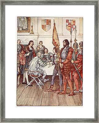 The Page Presents His Prisoner Framed Print by Herbert Cole