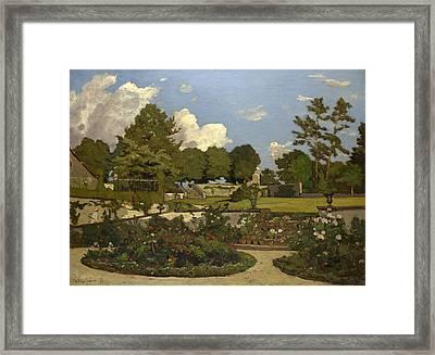 The Painters Garden At Saint-prive Framed Print by Henri-Joseph Harpignies
