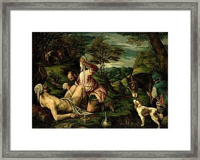The Parable Of The Good Samaritan Framed Print by Francesco Bassano