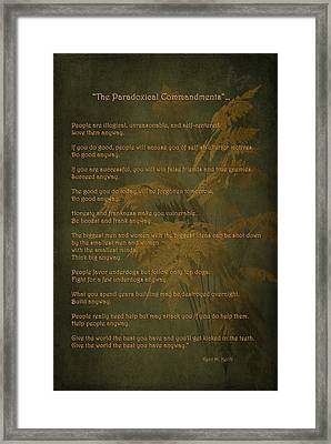 The Paradoxical Commandments Framed Print by Maria Angelica Maira