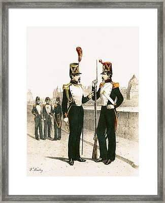 The Parisian Municipale Guard, Formed 29th July 1830 Coloured Engraving Framed Print by French School