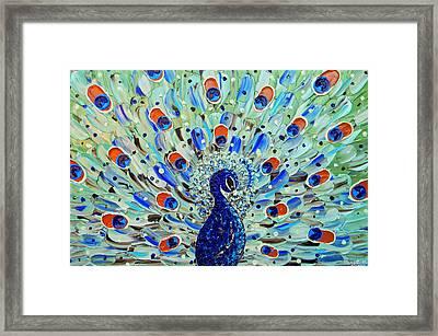 The Peacock Framed Print by Christine Krainock