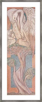The Pelican, Cartoon For Stained Glass For The William Morris Company, 1880 Coloured Chalk On Paper Framed Print by Sir Edward Coley Burne-Jones