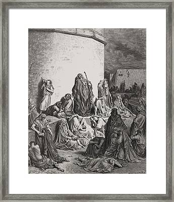 The People Mourning Over The Ruins Of Jerusalem Framed Print by Gustave Dore