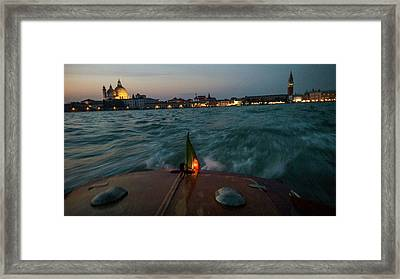 The Piazza San Marco From A Water Taxi Framed Print by Stephen Alvarez