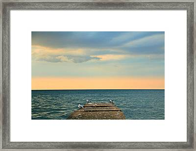 The Pier At Sunset Framed Print by Heather Allen