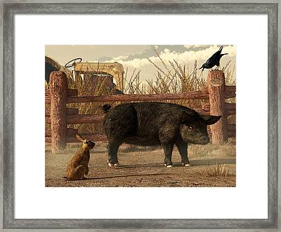 The Pig And The Hare Framed Print by Daniel Eskridge