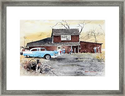 The Pig Stand Framed Print by Monte Toon
