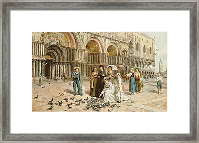 The Pigeons Of St Mark S Framed Print by George Goodwin Kilburne