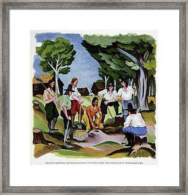 The Pilgrims Learning To Farm Framed Print by Cci Archives