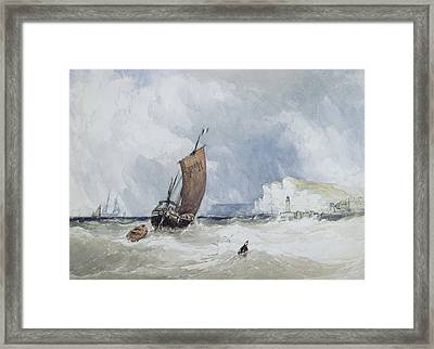 The Pilot Boat Off Fecamp, Normandy Framed Print by Charles Bentley