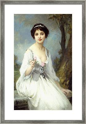 The Pink Rose Framed Print by Charles Amable Lenoir