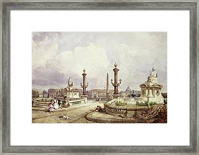 The Place De La Concorde, C.1837 Wc On Paper Framed Print by William Wyld