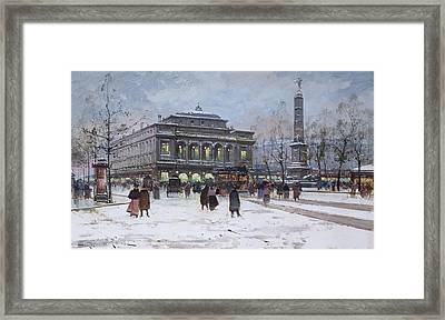 The Place Du Chatelet Paris Framed Print by Eugene Galien-Laloue