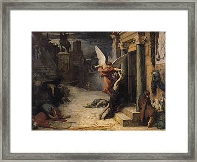 The Plague In Rome, 1869 Oil On Canvas Framed Print by Jules Elie Delaunay
