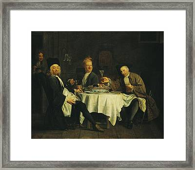 The Poet Alexis Piron 1689-1773 At The Table With His Friends, Jean Joseph Vade 1720-57 And Charles Framed Print by Etienne Jeaurat