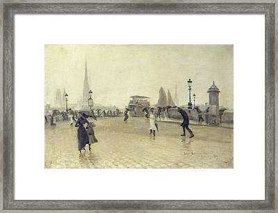 The Pont Corneille, Rouen, 1891 Oil On Canvas Framed Print by Leon Lemaitre