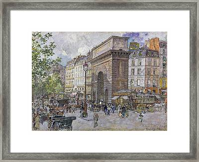 The Porte Saint-martin, 1898 Oil On Board Framed Print by Frederic Anatole Houbron