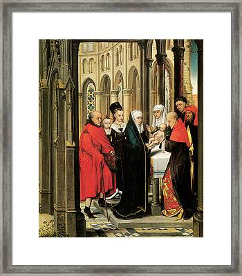 The Presentation In The Temple Framed Print by Hans Memling