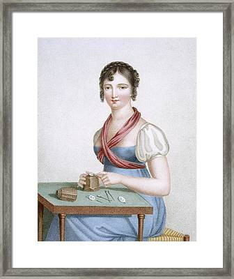The Printmaker, Engraved By Augrand Framed Print by Madame G. Busset-Dubruste