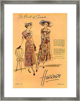The Prints Of Summer, From Harrods Ltd Framed Print by English School