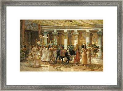 The Procession Of The Sacred Bull Framed Print by Frederick Arthur Bridgman