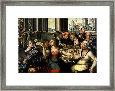 The Prodigal Son, 1536 Oil On Panel Framed Print by Jan Sanders van Hemessen