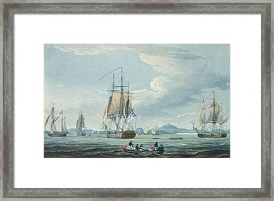The Prometheus And The Melpomene In The Gulf Of Riga Framed Print by Thomas Whitcombe
