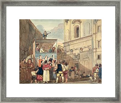 The Puppet Theatre Framed Print by Achille Pinelli