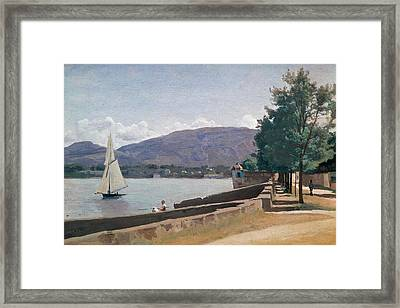 The Quai Des Paquis In Geneva Framed Print by Jean Baptiste Camille Corot