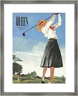 The Queen 1940s Uk Golf Womens Framed Print by The Advertising Archives